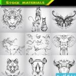 animal tatto cat 150x150 وکتور طرح های خالکوبی حیوان و برجگاه