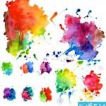 watercolor blot cat 150x150 دانلود وکتور لکه های آبرنگ – Watercolor Blot