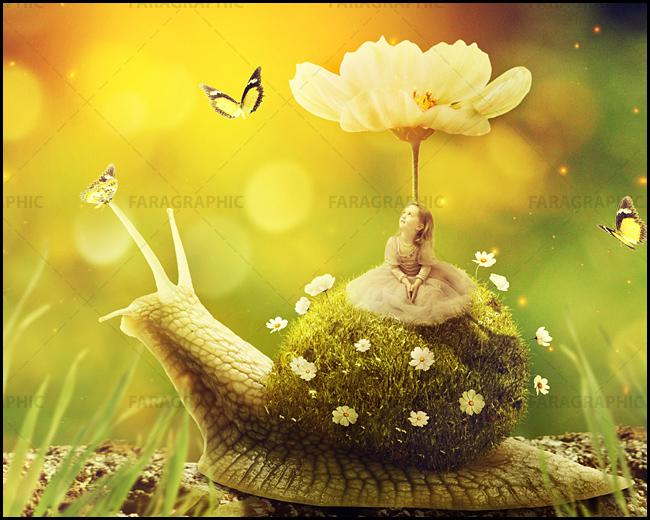 little girl snail page آموزش فتوشاپ ساخت تصویر ترکیبی دختر کوچک روی حلزون با صدف چمنی