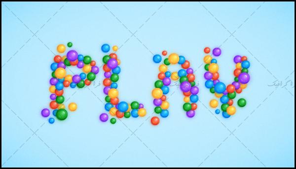 plasticBalls آموزش ایلوستریتور ساخت افکت متن توپ های پلاستیکی