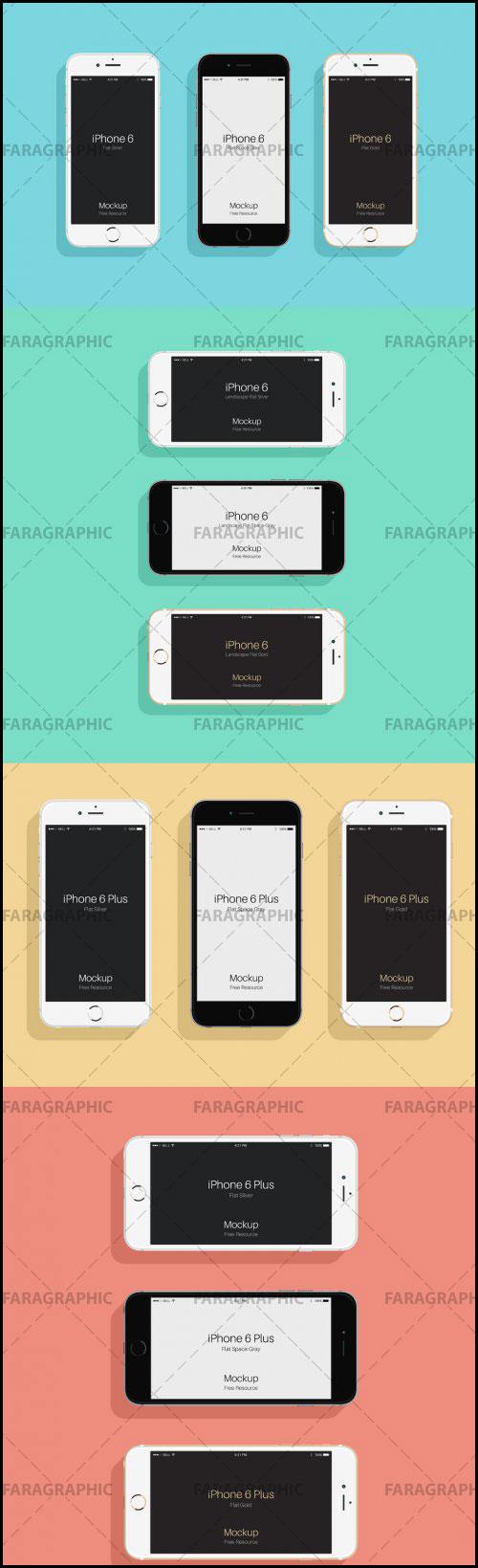 دانلود ماک آپ های Iphone 6 و 6s - طرح تخت