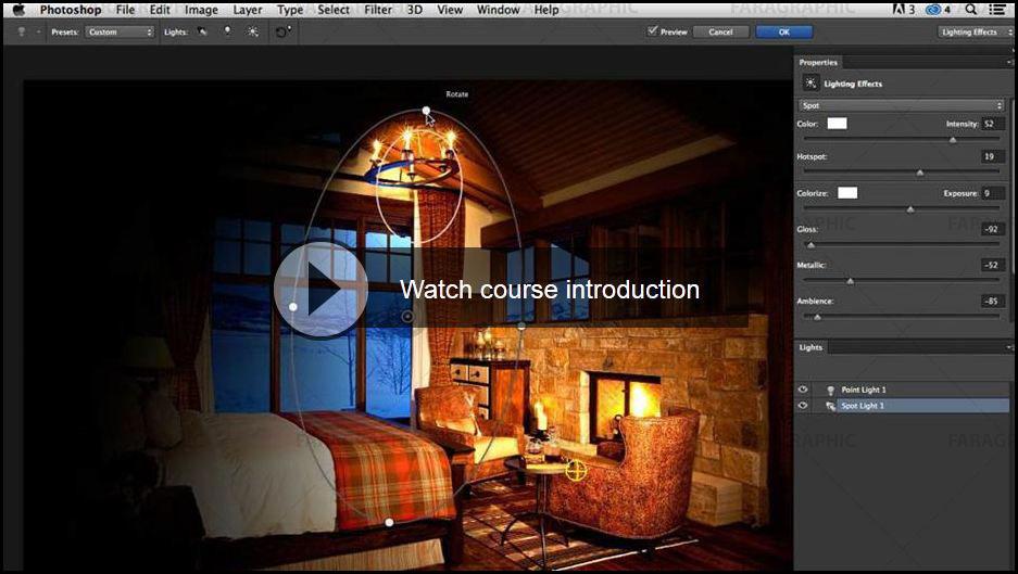آموزش ویدئویی فتوشاپ افکت های نور پردازی Photoshop CC Lighting Effects