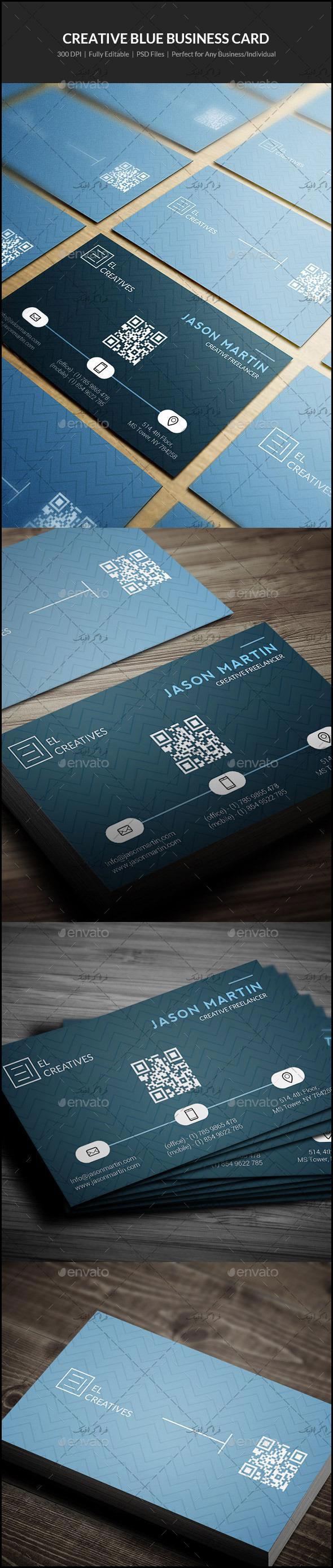 دانلود کارت ویزیت خلاقانه رنگ آبی