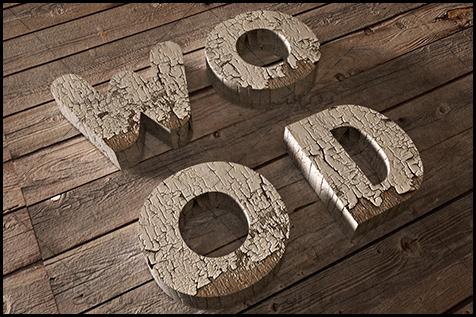 آموزش فتوشاپ 3 بعدی ساخت افکت متنی چوبی پوسیده