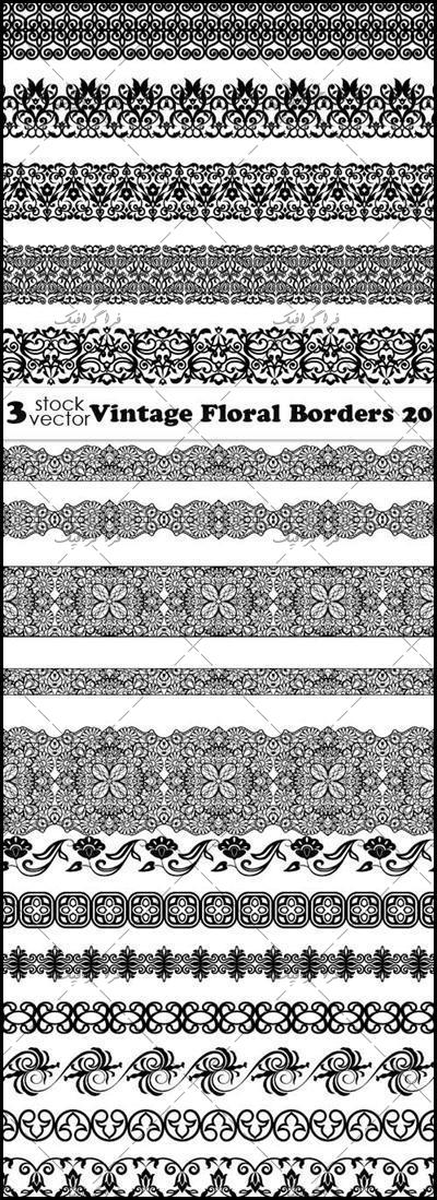 دانلود وکتور طرح های حاشیه گلدار کلاسیک - شماره 2