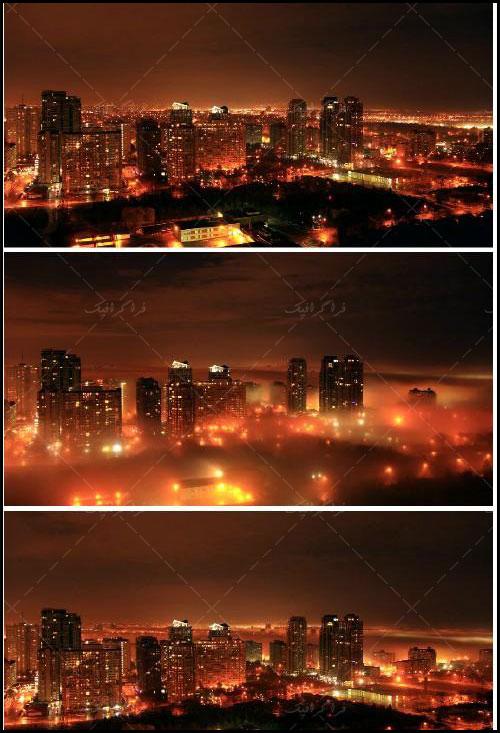 دانلود ویدیو فوتیج شهر مه گرفته - شب