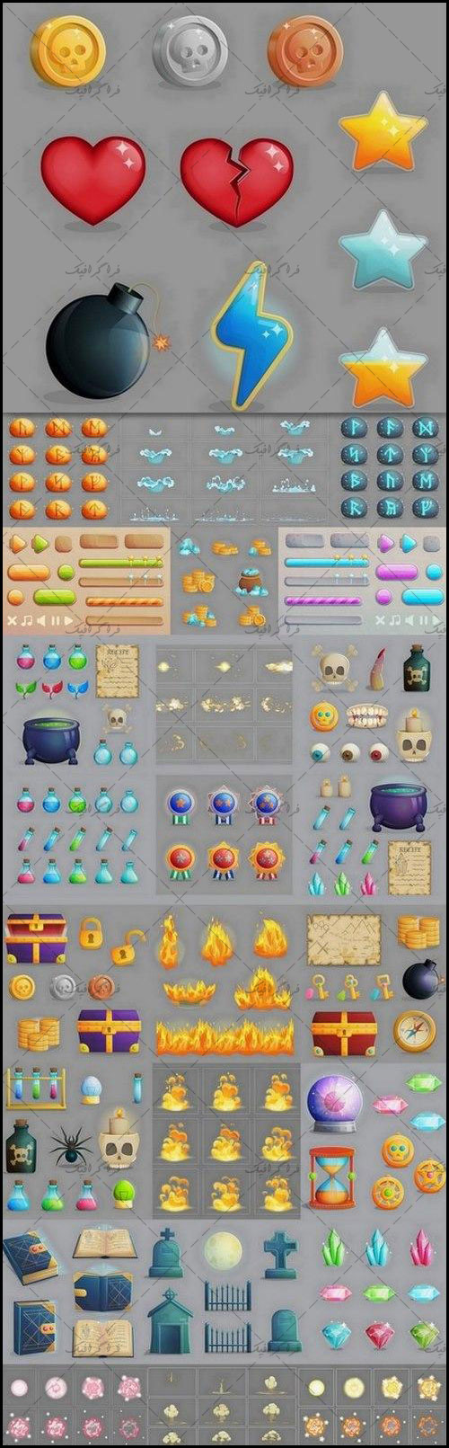 دانلود وکتور عناصر گرافیکی بازی 2 بعدی - شماره 4