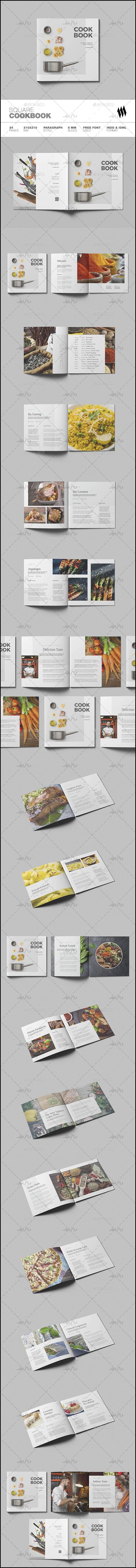 دانلود فایل لایه باز ایندیزاین کتاب آشپزی - مربعی