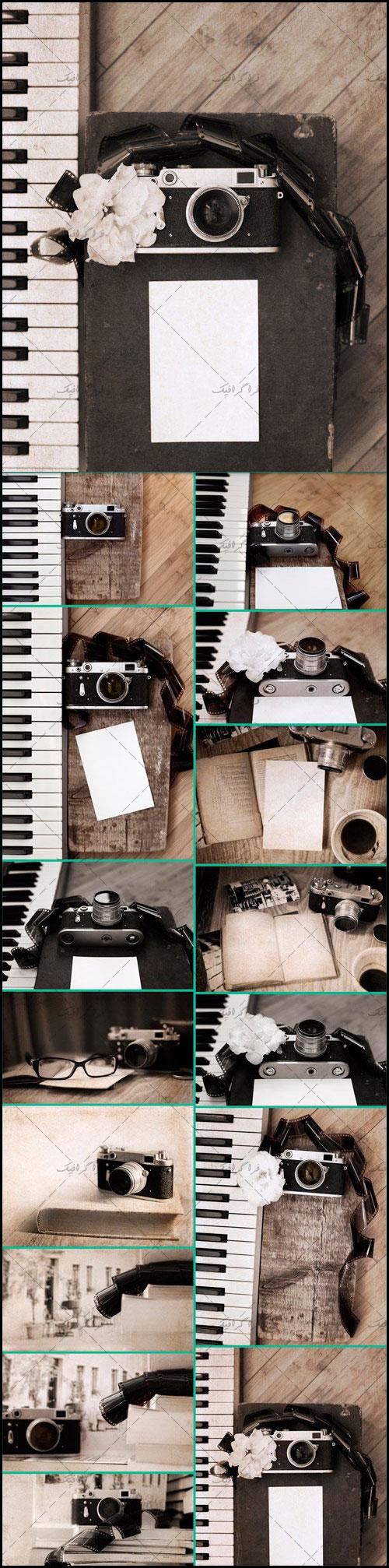 دانلود تصاویر استوک دوربین قدیمی عکاسی و پیانو