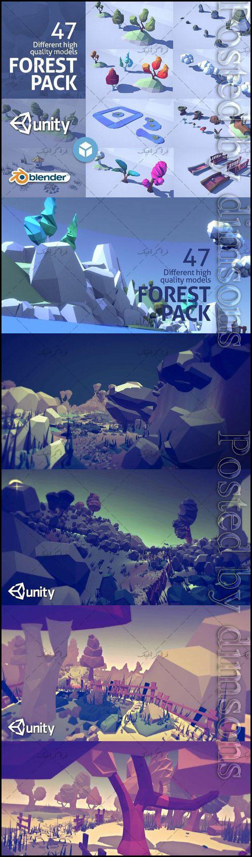 دانلود مدل های سه بعدی جنگل کارتونی - Low Poly