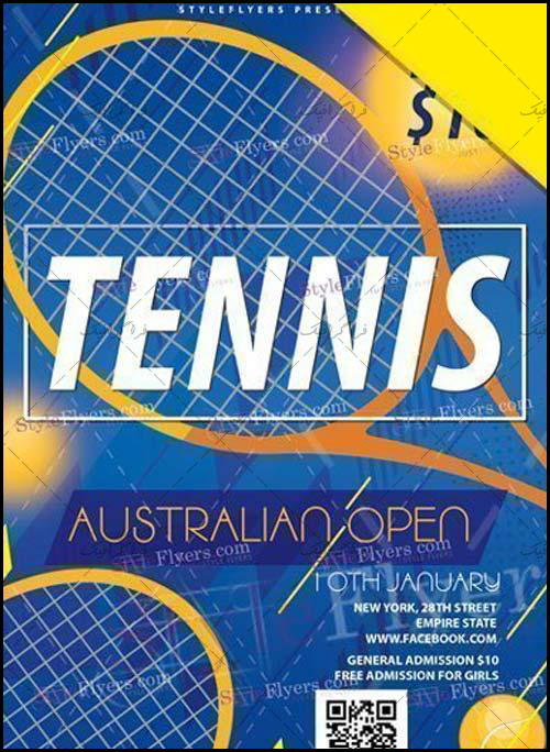 دانلود فایل لایه باز فتوشاپ پوستر مسابقات تنیس