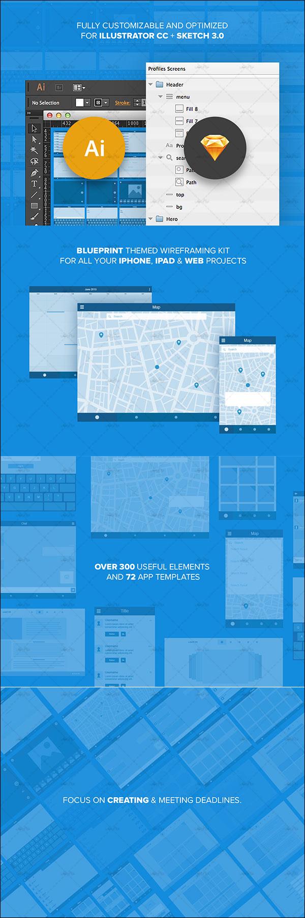 دانلود کیت وایرفریم اپلیکیشن iOS و سایت - رایگان - مجموعه Ui8