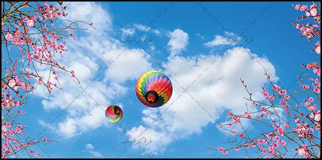 تصویر آسمان مجازی - طرح بالون و شکوفه