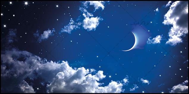 تصویر آسمان مجازی - طرح ماه و آسمان شب