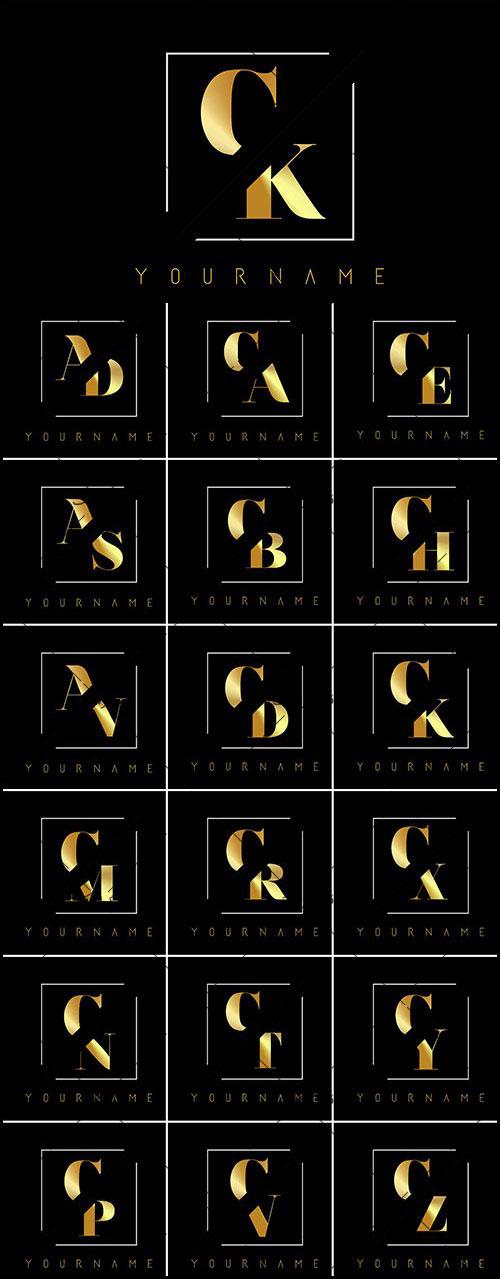 دانلود لوگو های حروف انگلیسی حرف بریده شده طلایی
