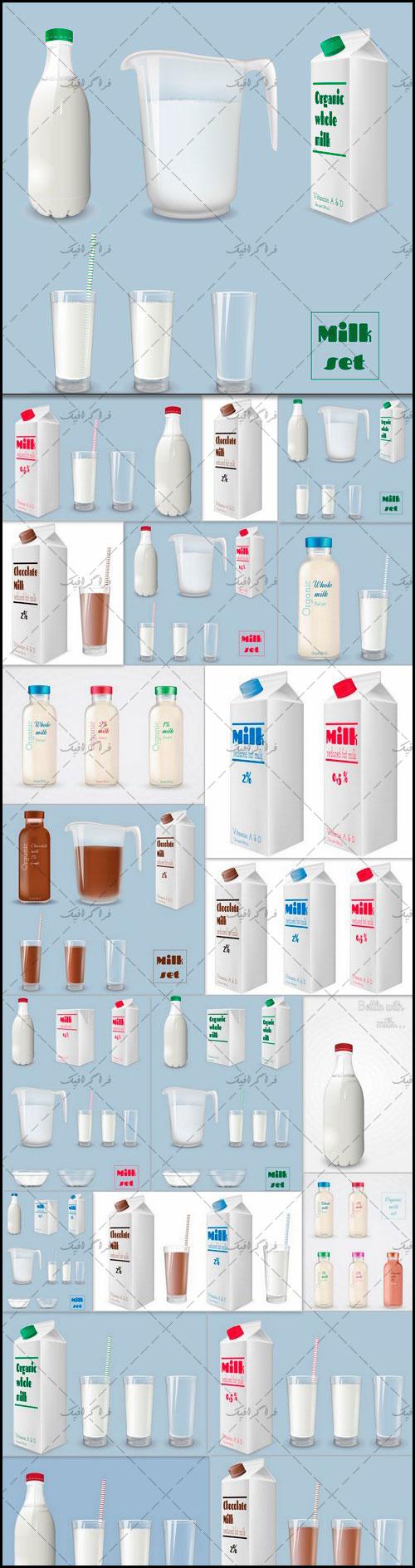 دانلود وکتور های شیر خوراکی در جعبه و لیوان