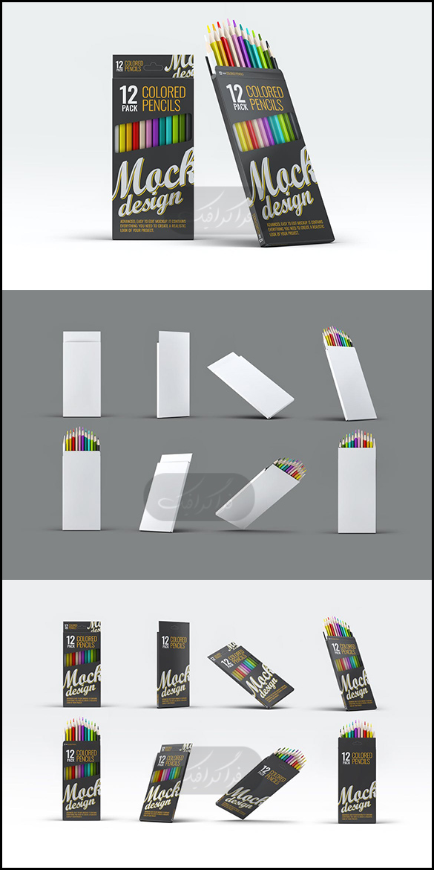 دانلود ماک آپ فتوشاپ جعبه مداد رنگی 12 تایی