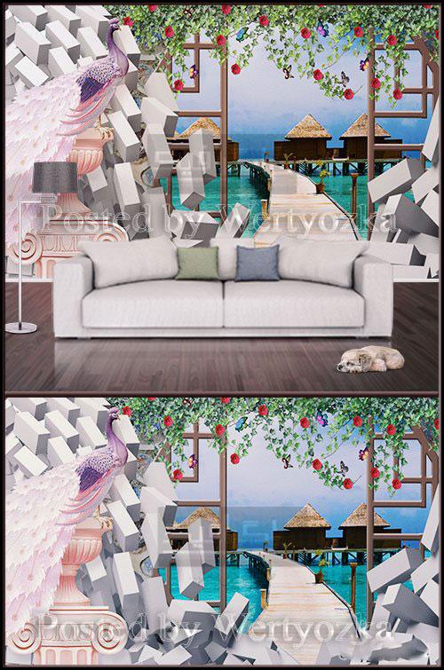 پوستر دیواری سه بعدی طرح دیوار آجری - طاووس - طبیعت