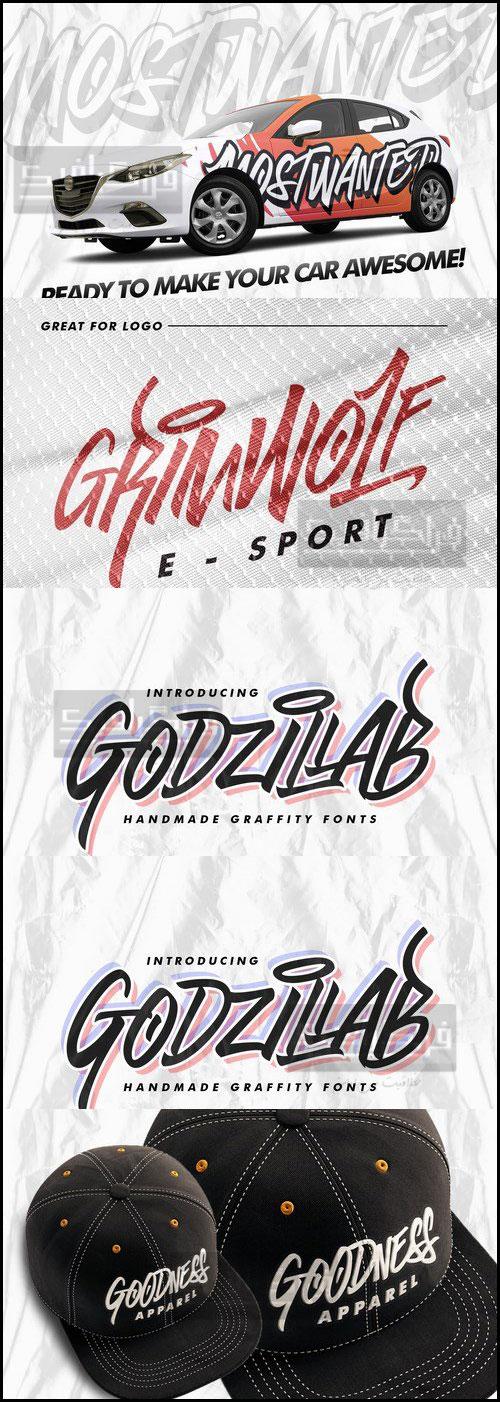 دانلود فونت انگلیسی گرافیتی Godzilab