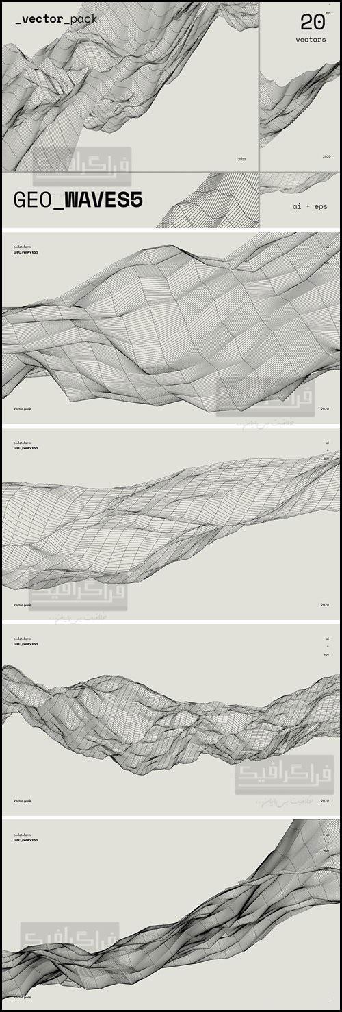 دانلود وکتور اشکال هندسی موجی