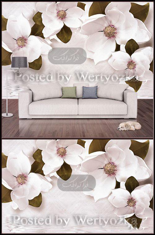 دانلود پوستر سه بعدی طرح گل های سفید بزرگ