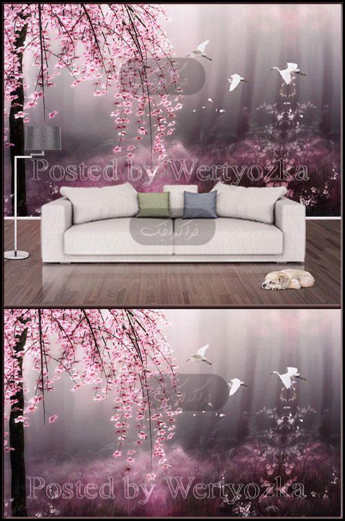 دانلود پوستر سه بعدی شکوفه های درخت گیلاس