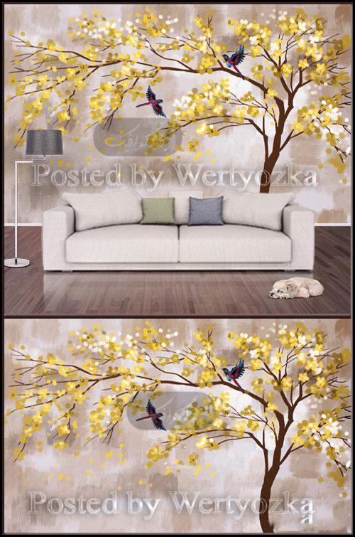 دانلود پوستر سه بعدی درخت زرد با پرندگان