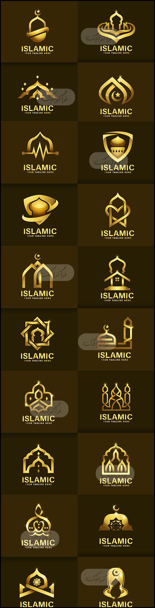 دانلود لوگو های طلایی مسجد