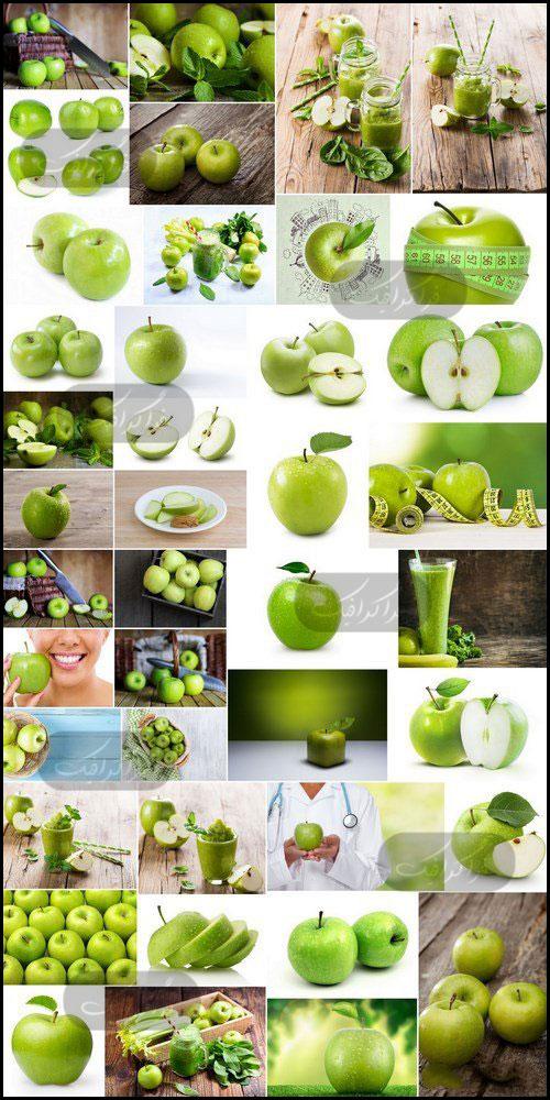 دانلود تصاویر استوک سیب سبز و آبمیوه