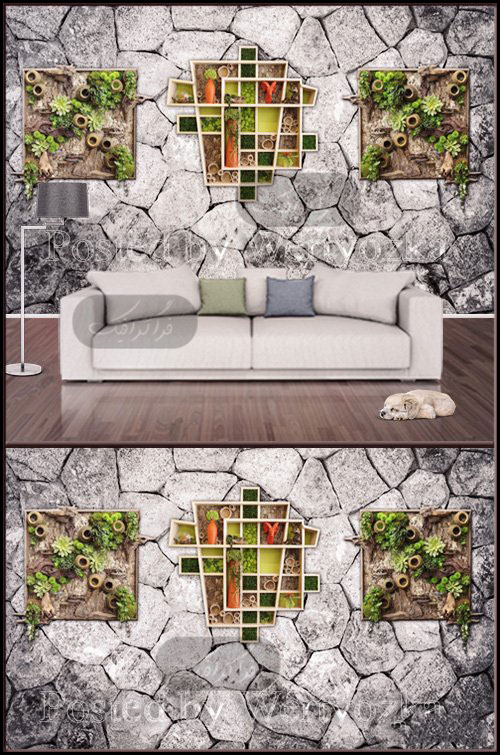 دانلود پوستر سه بعدی دیوار سنگی با تزئینات