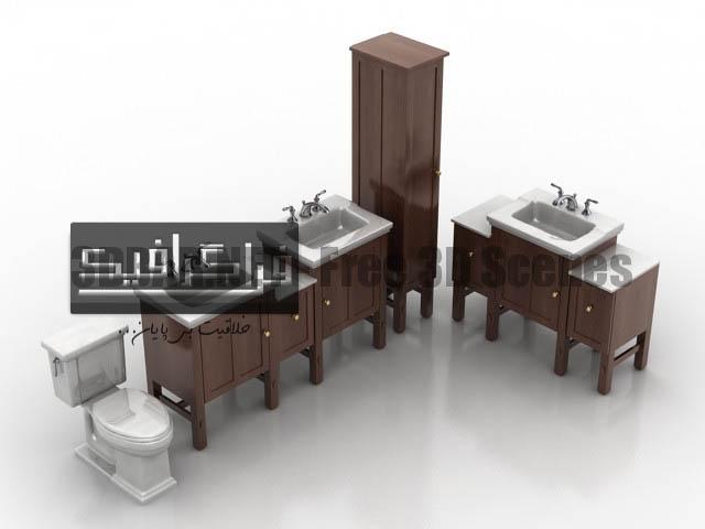 دانلود مدل سه بعدی سرویس بهداشتی چوبی - رایگان