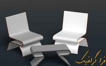 آموزش فتوشاپ ساخت میز و صندلی سه بعدی