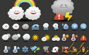 دانلود آیکون های آب و هوای کارتونی