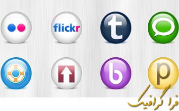 دانلود آیکون سایت های شبکه اجتماعی - طرح شیشه ای