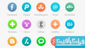 دانلود آیکون سایت های شبکه اجتماعی - طرح دایره ای