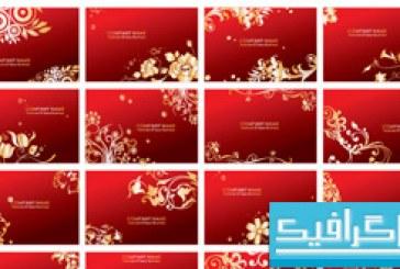 کارت های ویزیت با طرح گل های طلایی