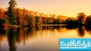 دانلود والپیپر دریاچه Sunset Over Lake