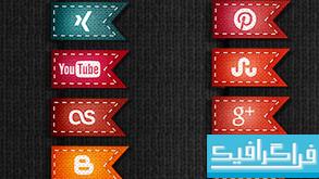 آیکون سایت های شبکه اجتماعی - طرح پرچم