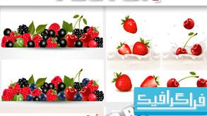 وکتور های بنر سایت - طرح میوه و آبمیوه