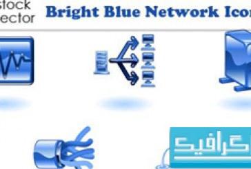 آیکون شبکه های کامپیوتری – رنگ آبی