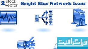آیکون شبکه های کامپیوتری - رنگ آبی