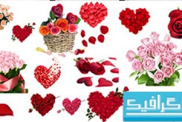 فایل لایه باز گل های رومانتیک – کلیپ آرت