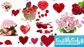 فایل لایه باز گل های رومانتیک - کلیپ آرت