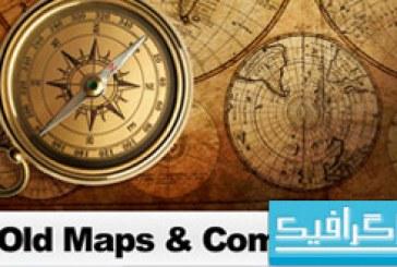 دانلود تصاویر استوک نقشه قدیمی و قطب نما