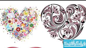 وکتور های قلب با طرح گل و پروانه