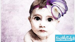 اکشن فتوشاپ تبدیل عکس به نقاشی مداد رنگی