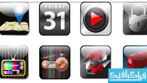 دانلود آیکون های شیشه ای برنامه موبایل