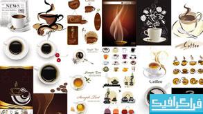 وکتور های قهوه و فنجان قهوه