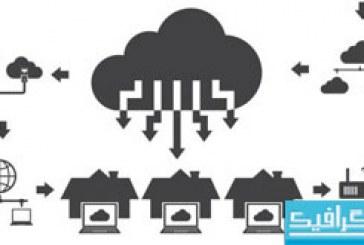 دانلود آیکون های تخت ذخیره سازی ابری