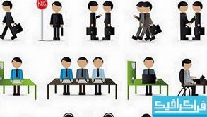 وکتور شخصیت های کارتونی تجارت - مجموعه کامل